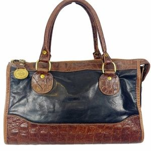 BRAHMIN Croc Leather Black Zip Satchel w Gold